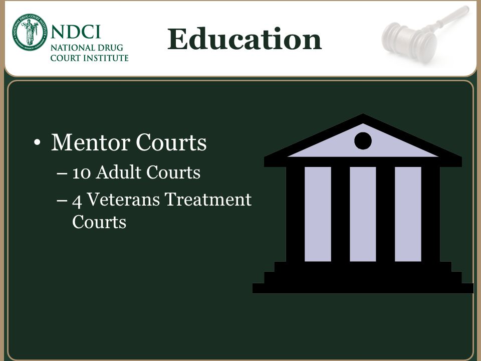 Education Mentor Courts 10 Adult Courts 4 Veterans Treatment Courts