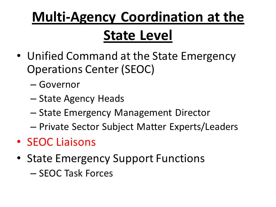 Multi-Agency Coordination at the State Level