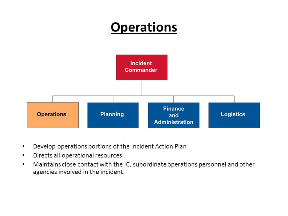 Operations Develop operations portions of the Incident Action Plan