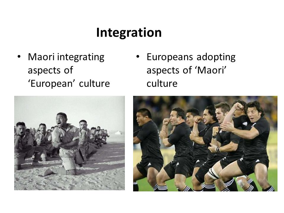 Integration Maori integrating aspects of 'European' culture