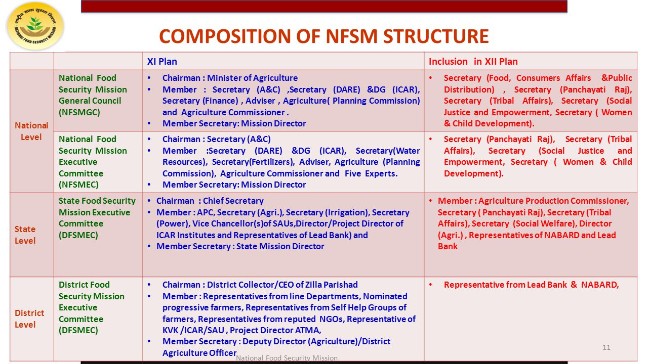 COMPOSITION OF NFSM STRUCTURE
