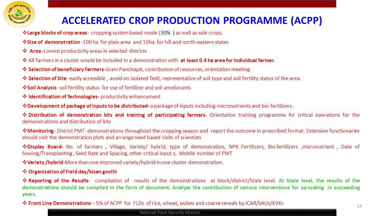 ACCELERATED CROP PRODUCTION PROGRAMME (ACPP)