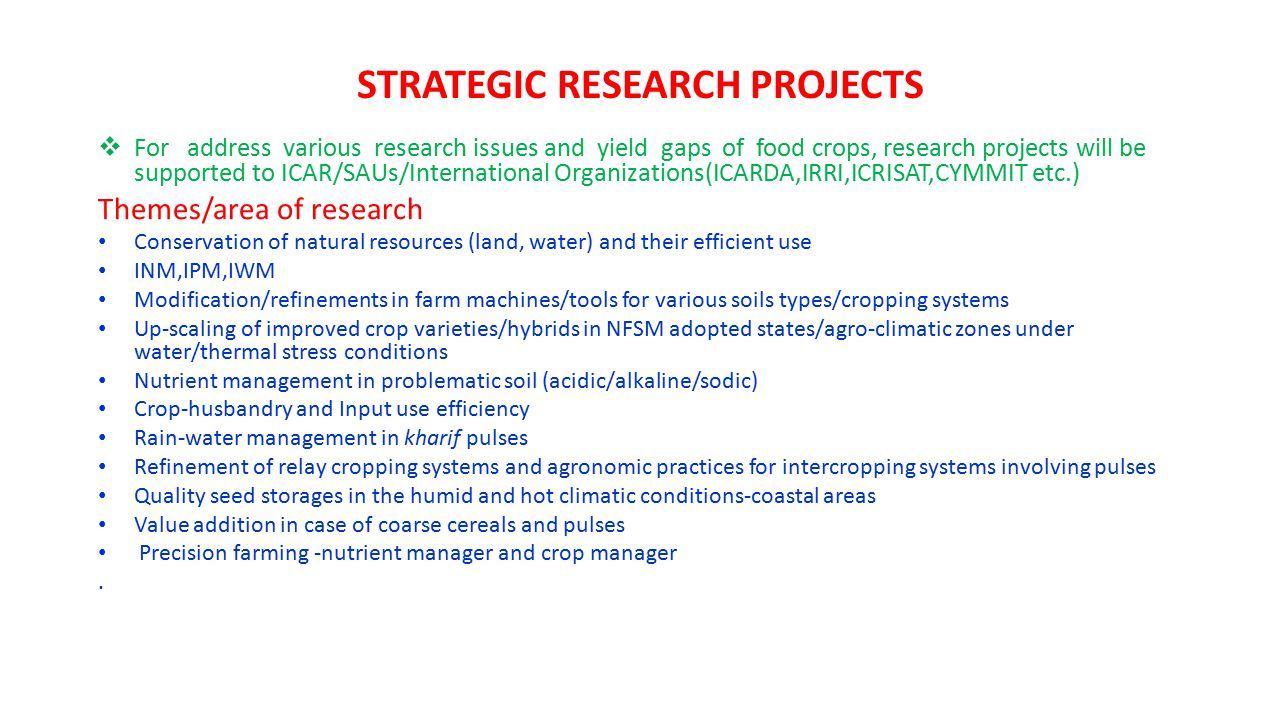 STRATEGIC RESEARCH PROJECTS