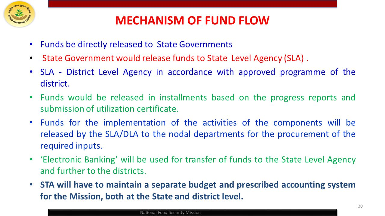 MECHANISM OF FUND FLOW Funds be directly released to State Governments
