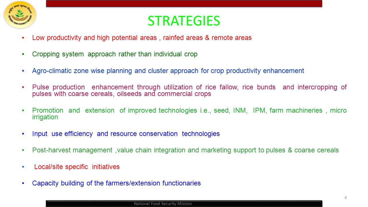 STRATEGIES Low productivity and high potential areas , rainfed areas & remote areas. Cropping system approach rather than individual crop.