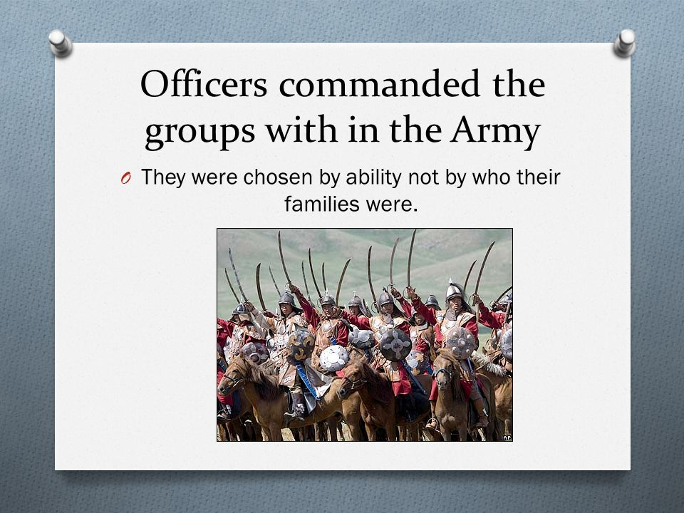 Officers commanded the groups with in the Army