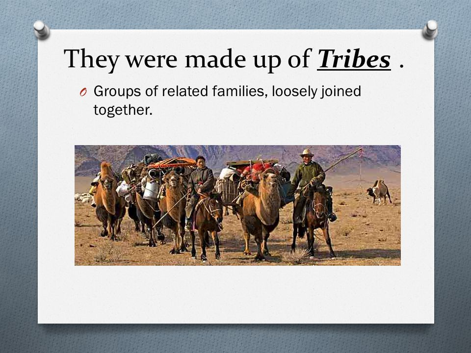 They were made up of Tribes .