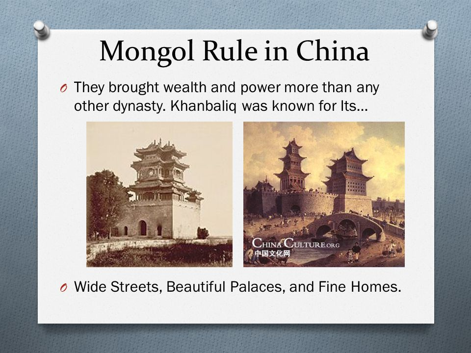 Mongol Rule in China They brought wealth and power more than any other dynasty. Khanbaliq was known for Its…