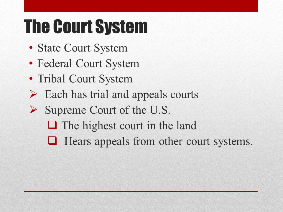The Court System State Court System Federal Court System