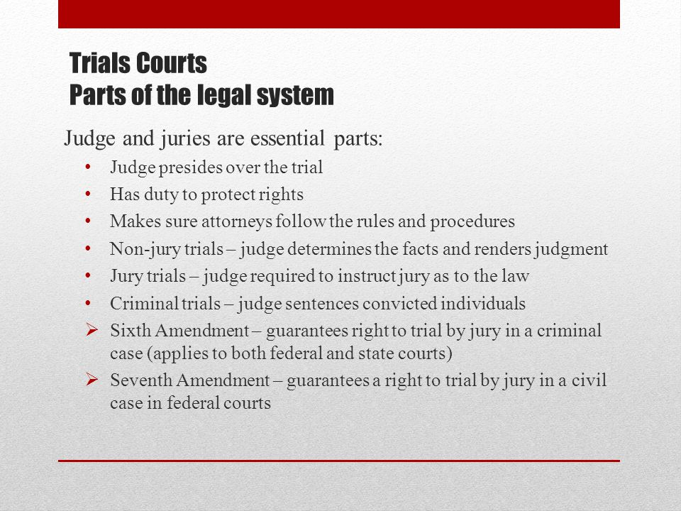 Trials Courts Parts of the legal system