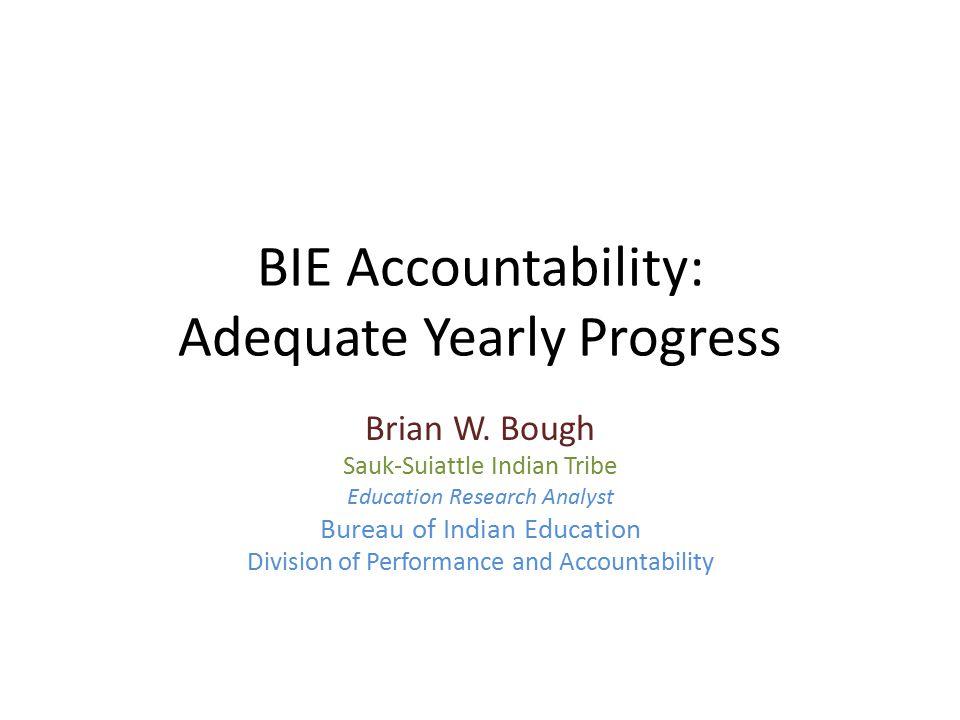 BIE Accountability: Adequate Yearly Progress