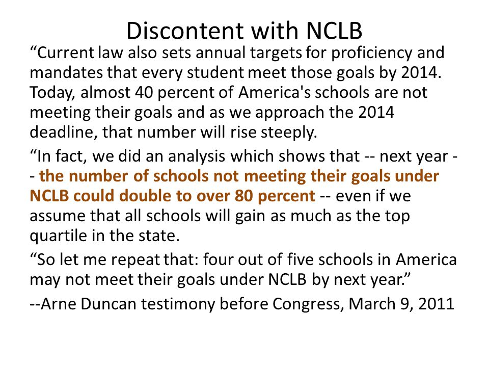 Discontent with NCLB