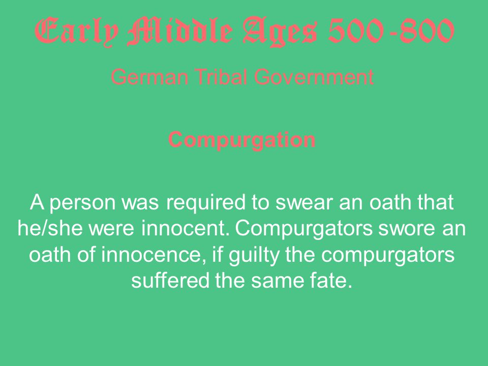 Early Middle Ages 500-800