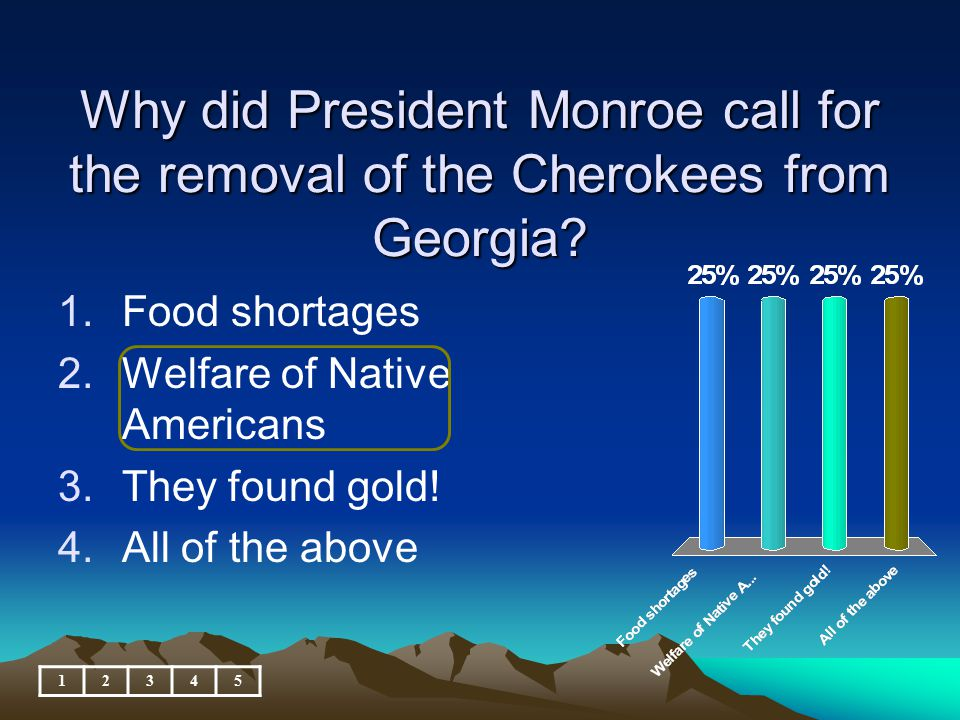 Why did President Monroe call for the removal of the Cherokees from Georgia