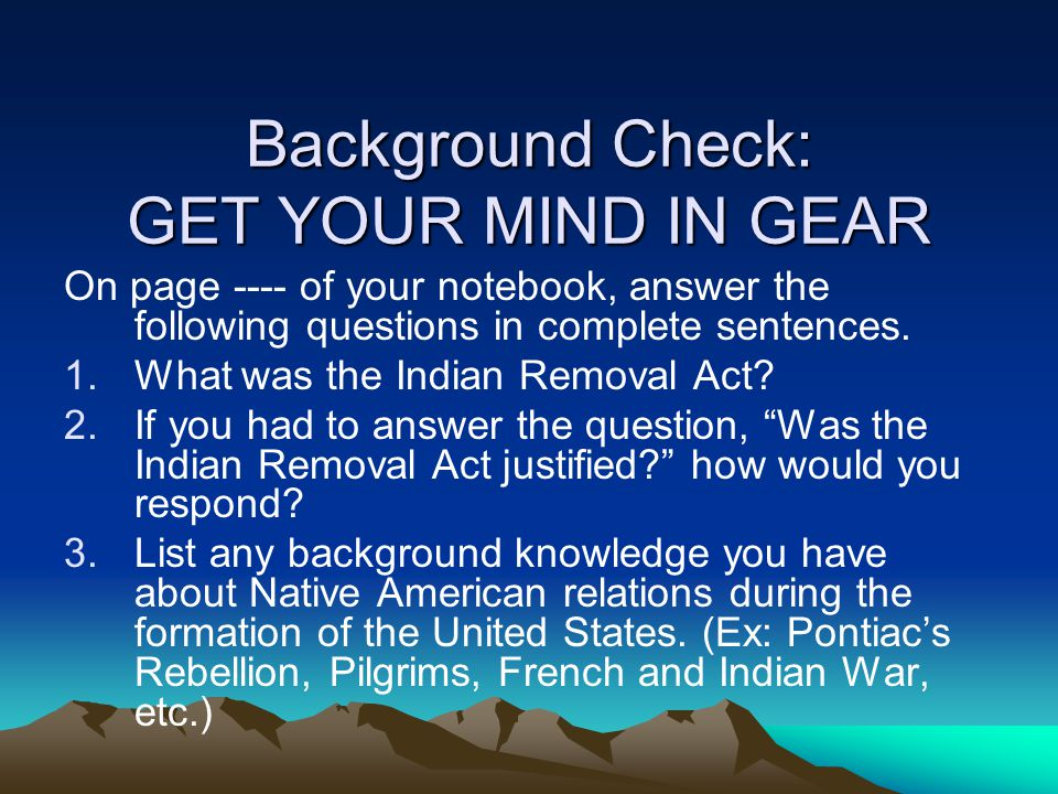 Background Check: GET YOUR MIND IN GEAR