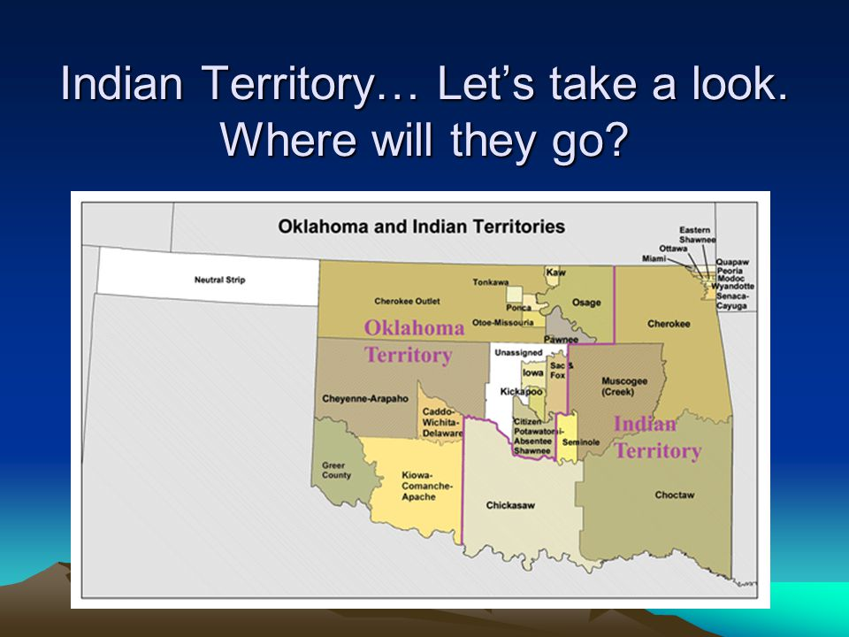 Indian Territory… Let's take a look. Where will they go
