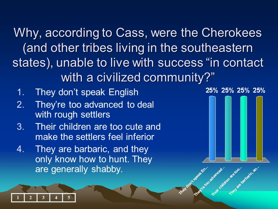 Why, according to Cass, were the Cherokees (and other tribes living in the southeastern states), unable to live with success in contact with a civilized community