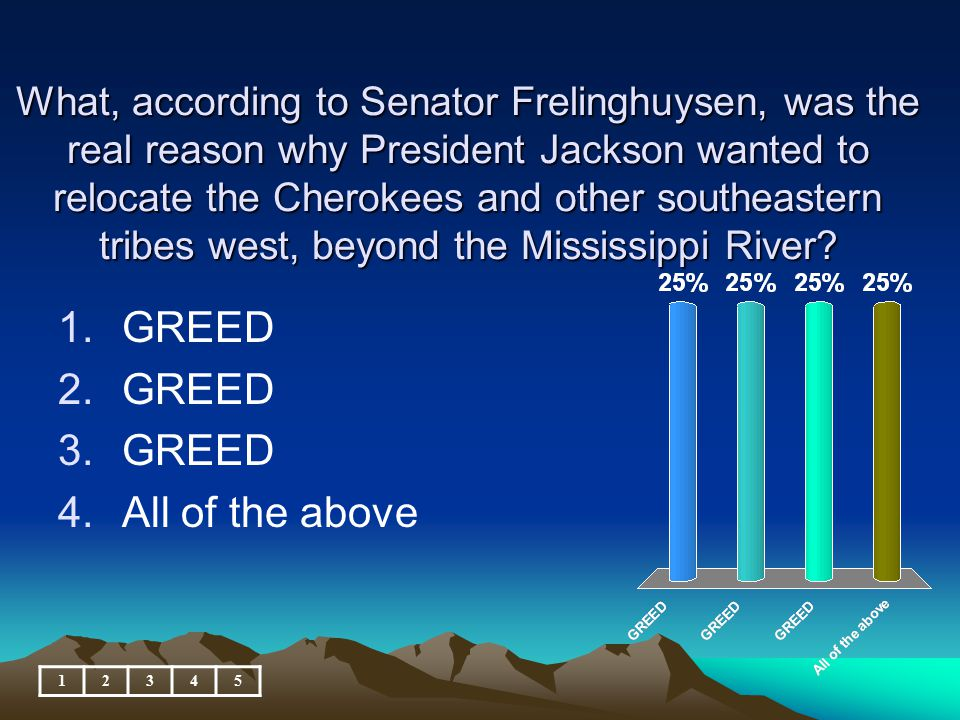 What, according to Senator Frelinghuysen, was the real reason why President Jackson wanted to relocate the Cherokees and other southeastern tribes west, beyond the Mississippi River