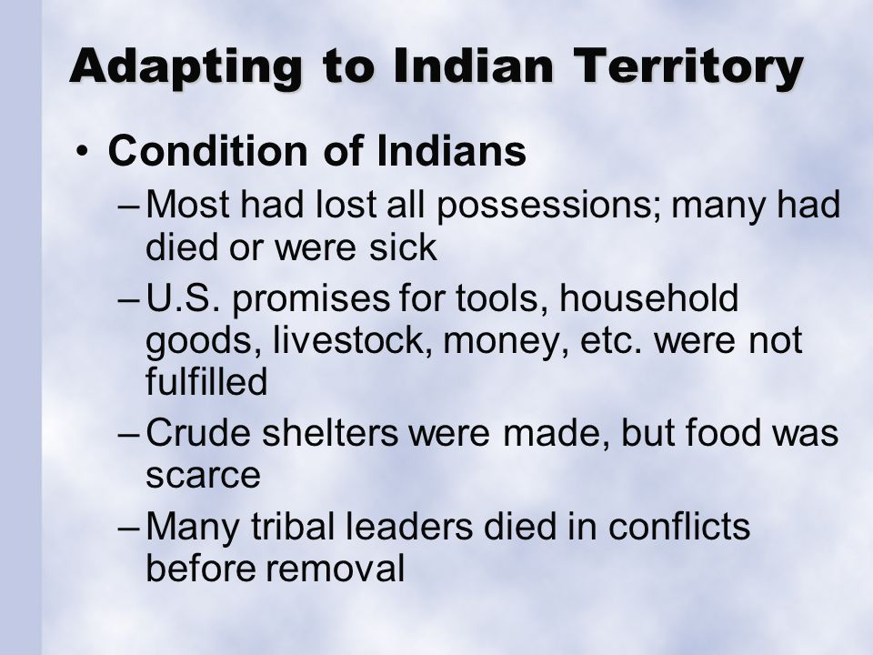 Needs of Indians The Five Nations
