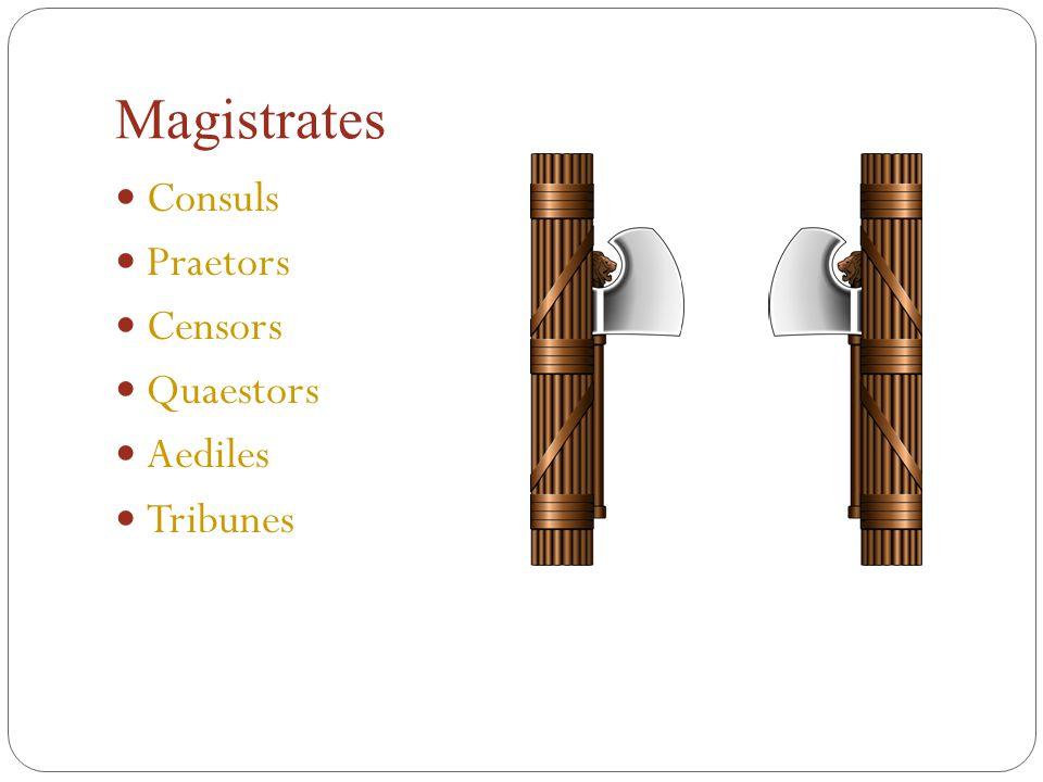 Magistrates Consuls Praetors Censors Quaestors Aediles Tribunes