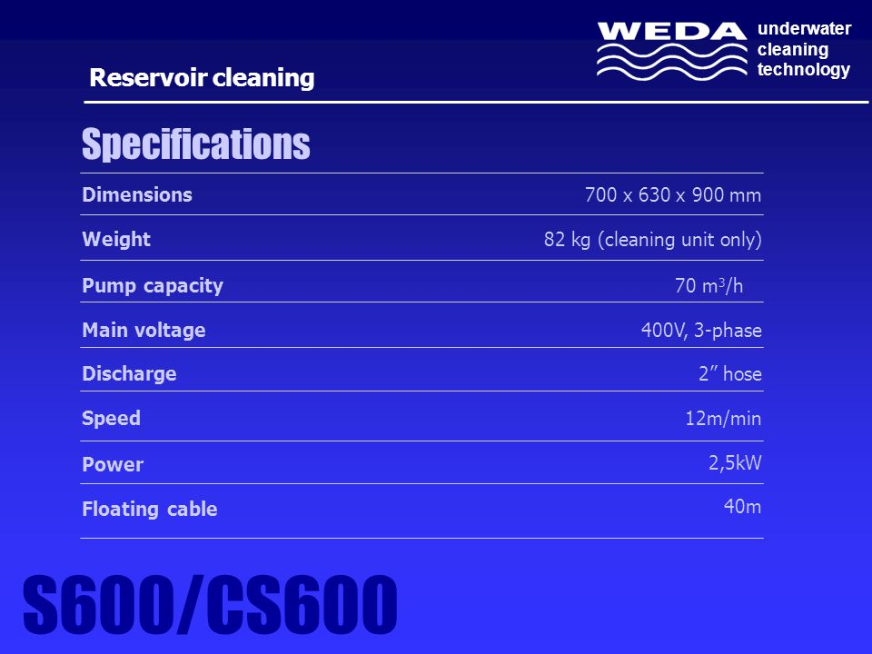 S600/CS600 Specifications Reservoir cleaning Dimensions