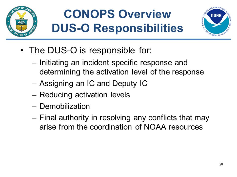 CONOPS Overview DUS-O Responsibilities
