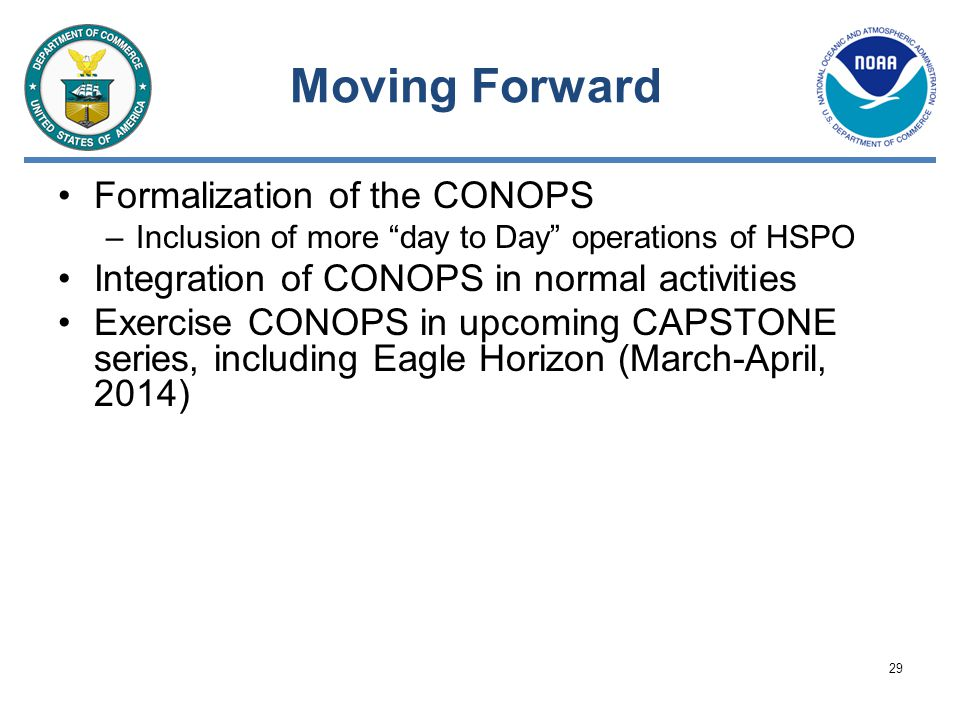 Moving Forward Formalization of the CONOPS