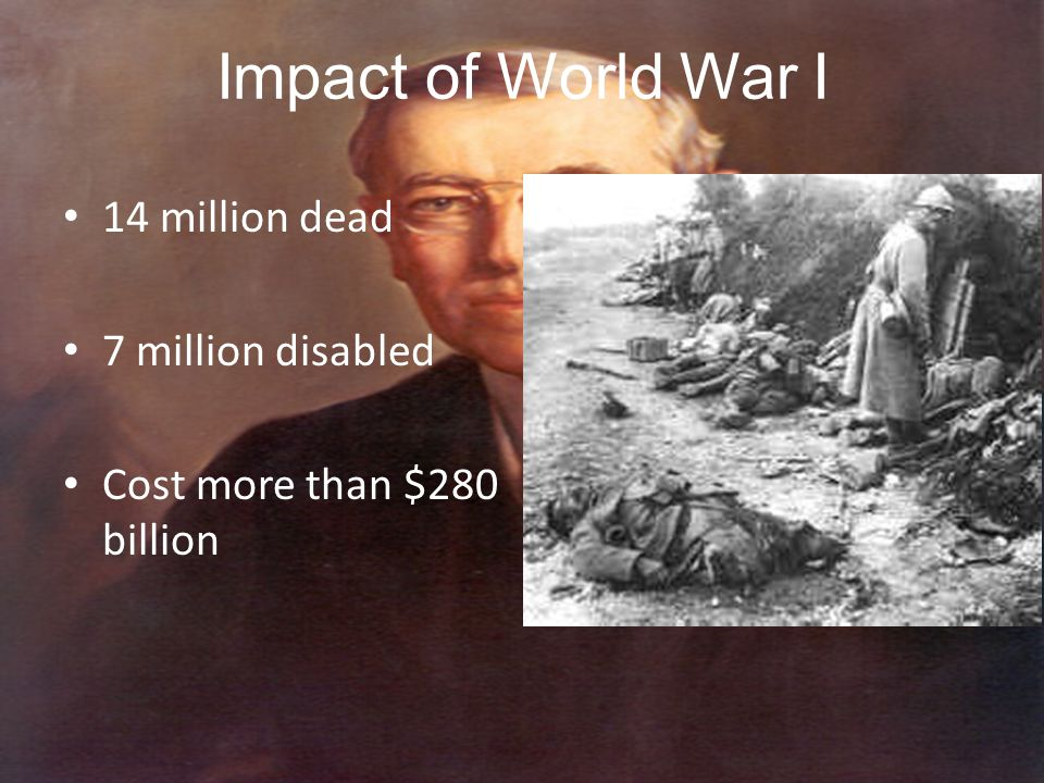 Impact of World War I 14 million dead 7 million disabled