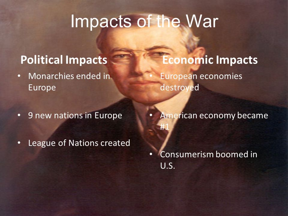 Impacts of the War Political Impacts Economic Impacts