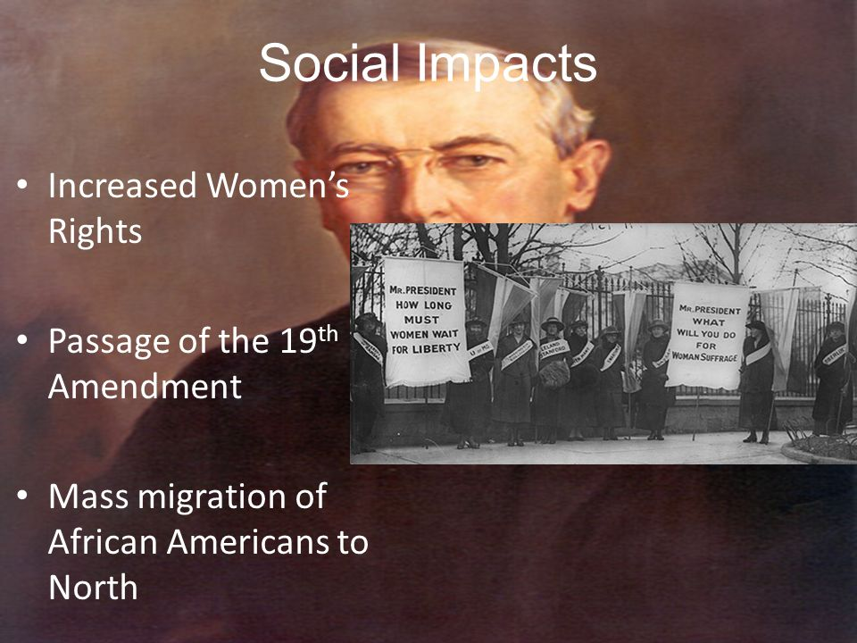 Social Impacts Increased Women's Rights Passage of the 19th Amendment
