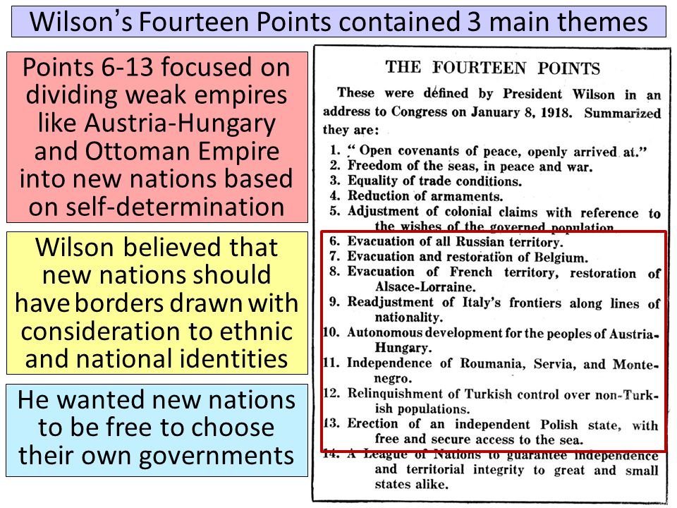 Wilson's Fourteen Points contained 3 main themes