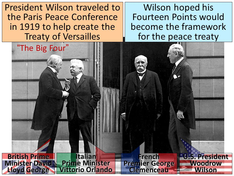 President Wilson traveled to the Paris Peace Conference in 1919 to help create the Treaty of Versailles