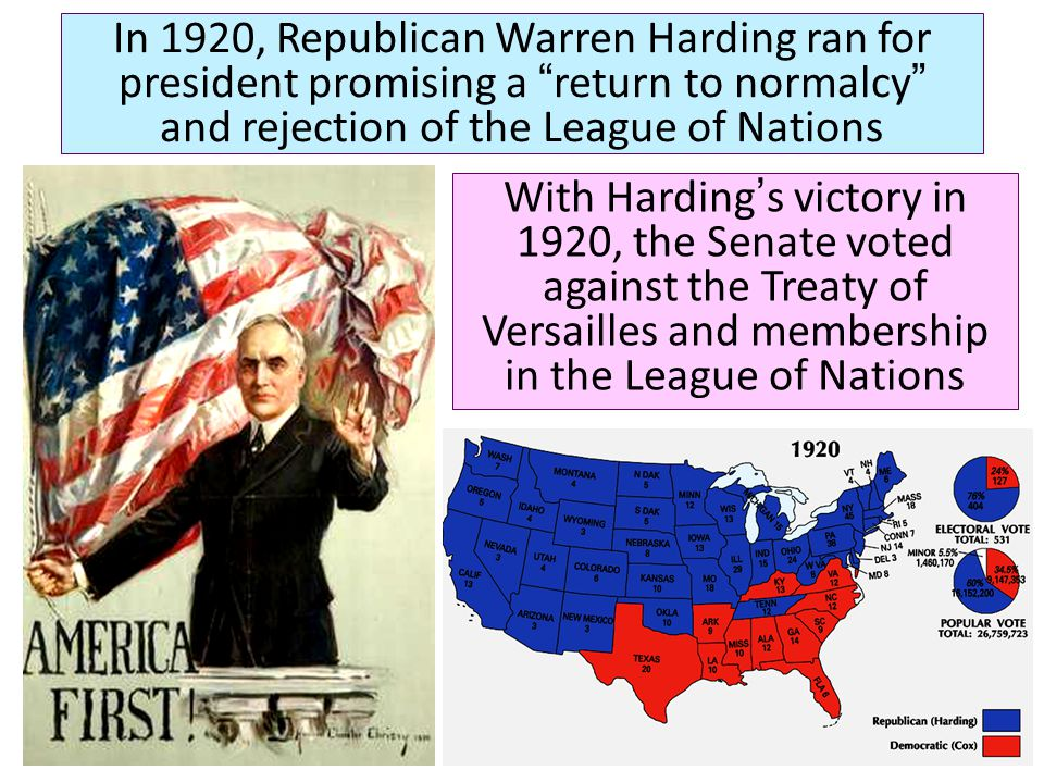 In 1920, Republican Warren Harding ran for president promising a return to normalcy and rejection of the League of Nations