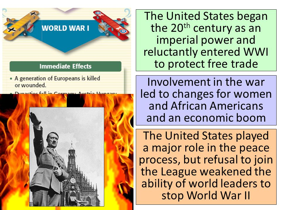 The United States began the 20th century as an imperial power and reluctantly entered WWI to protect free trade