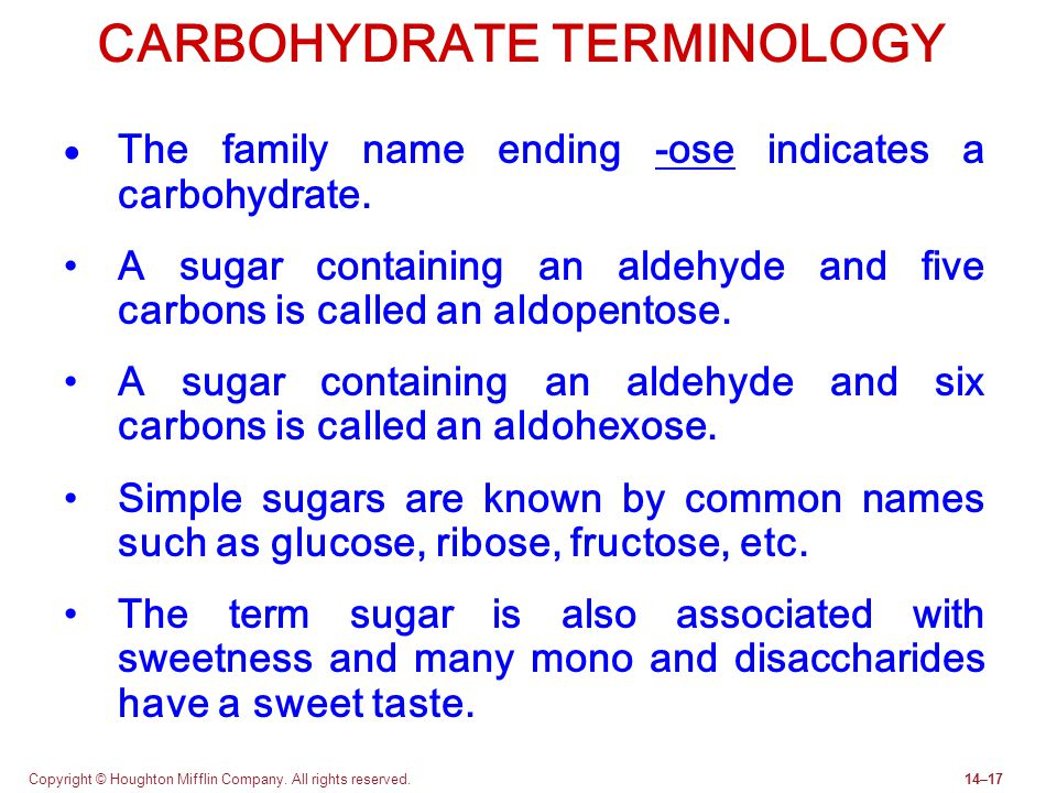 CARBOHYDRATE TERMINOLOGY