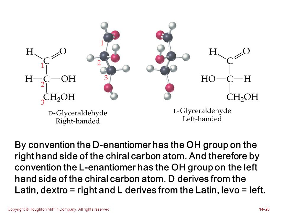 By convention the D-enantiomer has the OH group on the right hand side of the chiral carbon atom. And therefore by convention the L-enantiomer has the OH group on the left hand side of the chiral carbon atom. D derives from the Latin, dextro = right and L derives from the Latin, levo = left.