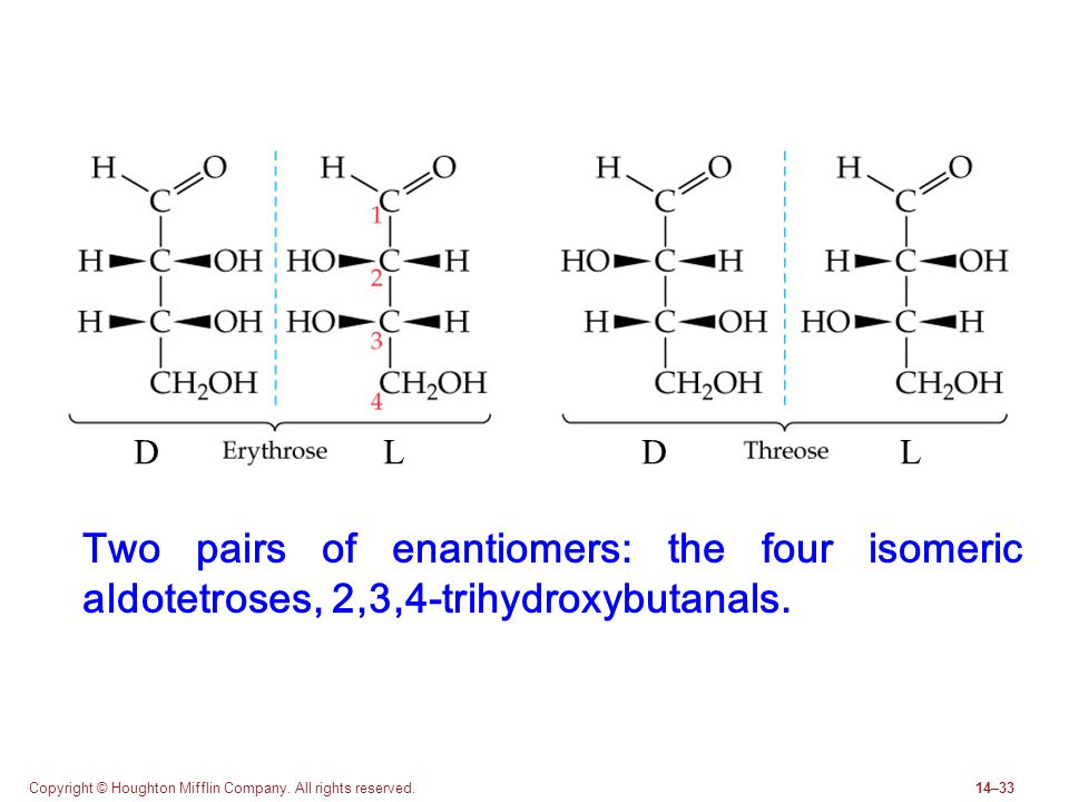 D L. D. L. Two pairs of enantiomers: the four isomeric aldotetroses, 2,3,4-trihydroxybutanals.