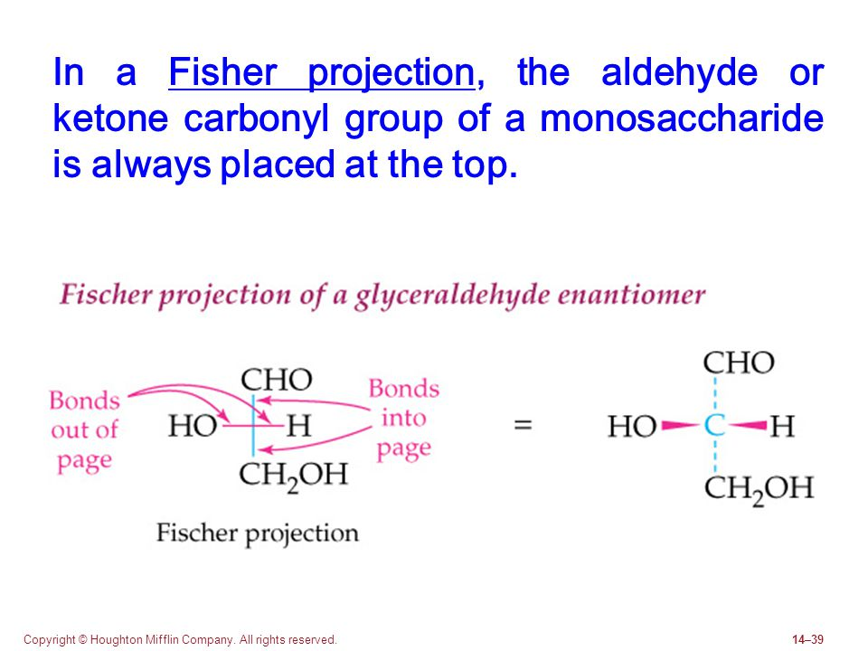In a Fisher projection, the aldehyde or ketone carbonyl group of a monosaccharide is always placed at the top.