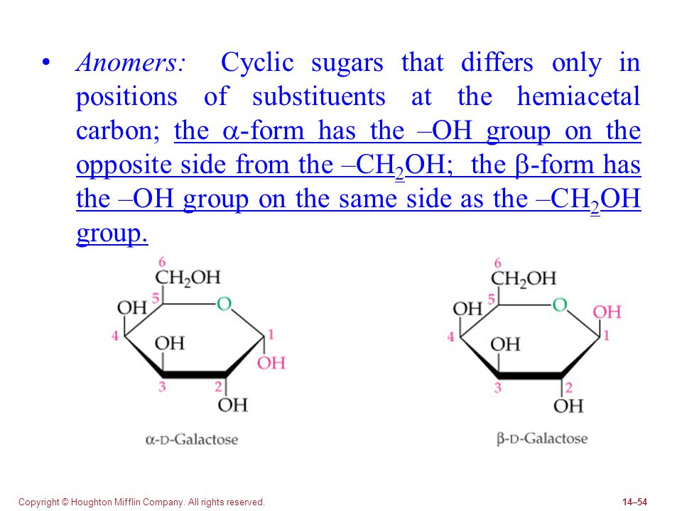 Anomers: Cyclic sugars that differs only in positions of substituents at the hemiacetal carbon; the a-form has the –OH group on the opposite side from the –CH2OH; the b-form has the –OH group on the same side as the –CH2OH group.