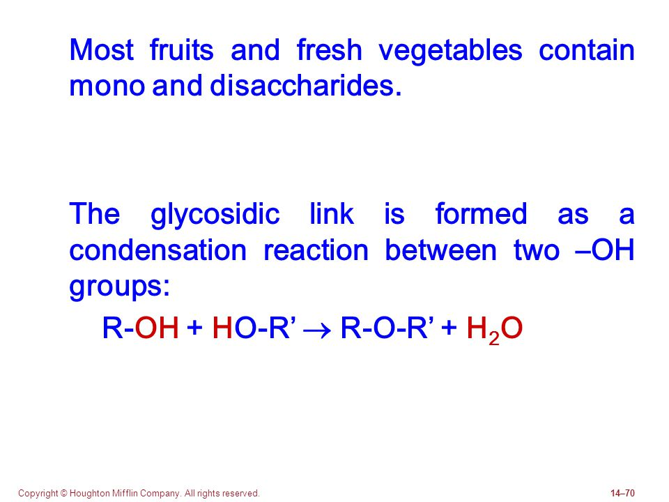 Most fruits and fresh vegetables contain mono and disaccharides.