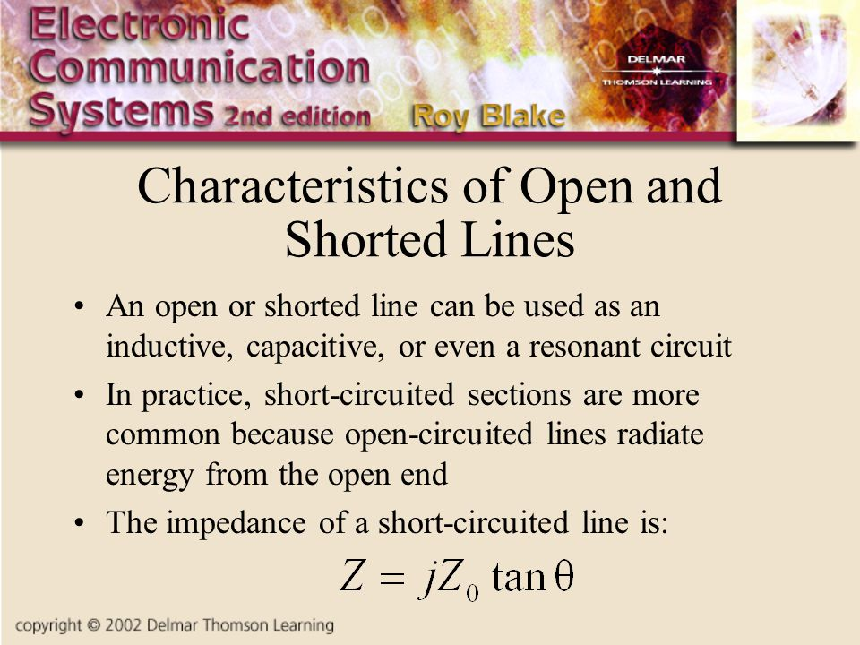 Characteristics of Open and Shorted Lines