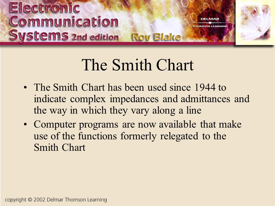 The Smith Chart The Smith Chart has been used since 1944 to indicate complex impedances and admittances and the way in which they vary along a line.