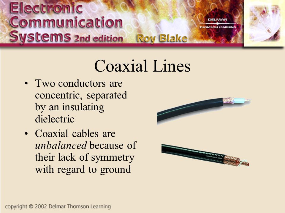 Coaxial Lines Two conductors are concentric, separated by an insulating dielectric.