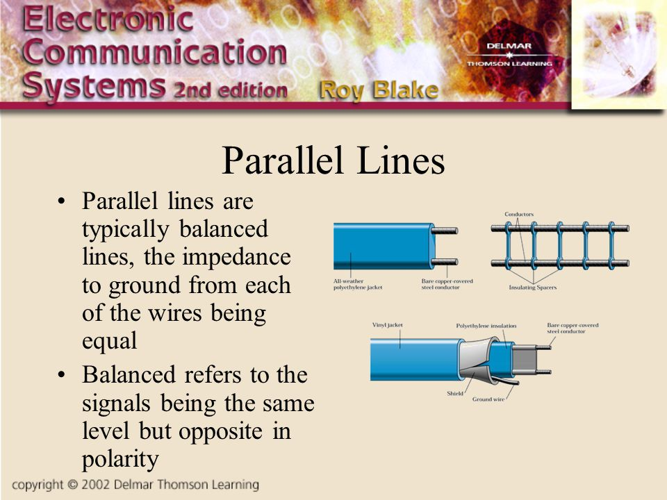 Parallel Lines Parallel lines are typically balanced lines, the impedance to ground from each of the wires being equal.