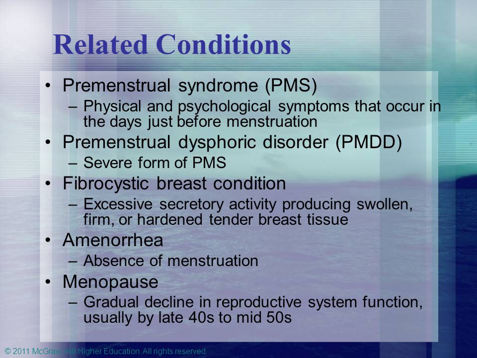 Related Conditions Premenstrual syndrome (PMS)