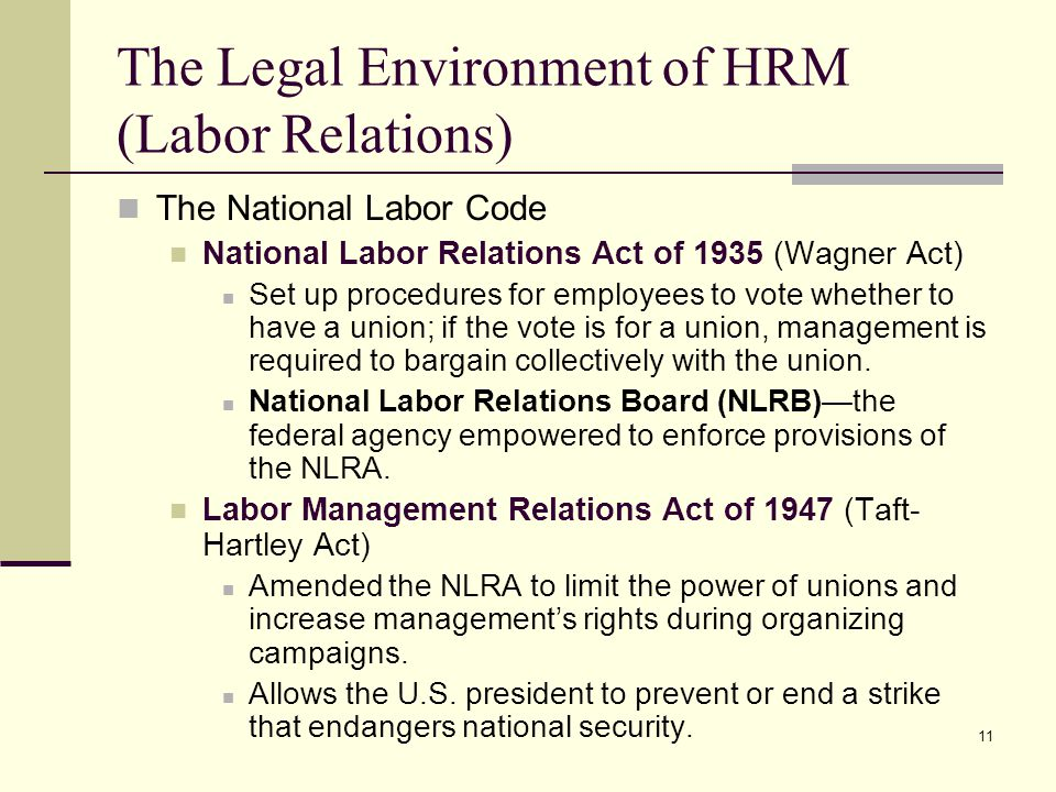 The Legal Environment of HRM (Labor Relations)