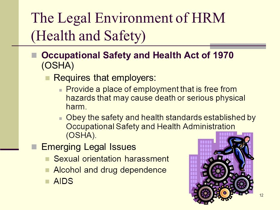 The Legal Environment of HRM (Health and Safety)