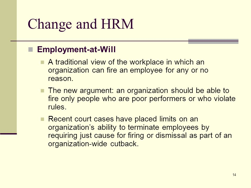 Change and HRM Employment-at-Will