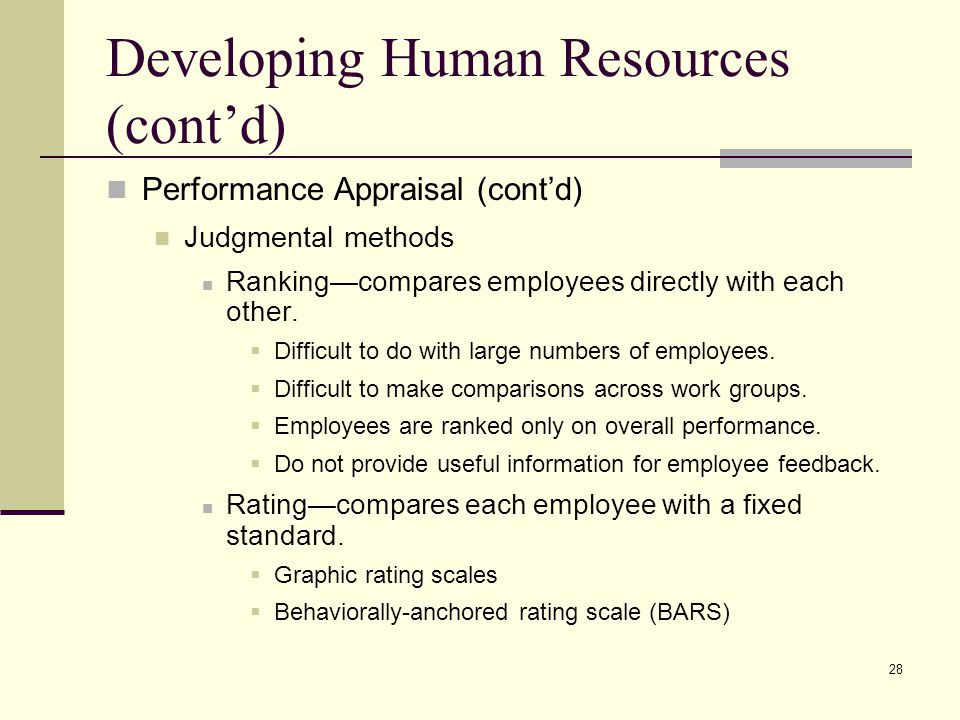 Developing Human Resources (cont'd)