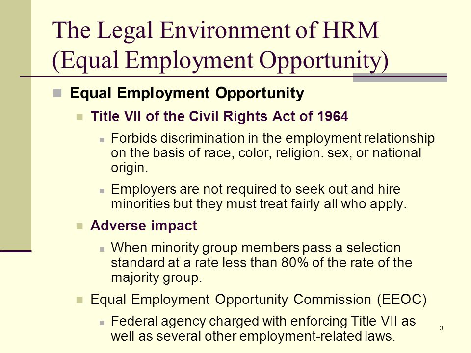 legal environment and equal opportunity Eeo, aa, and diversity: the foundation of an inclusive workplace environment equal employment opportunity (eeo) affirmative action (aa) at berkeley lab off-site resources diversity has gone beyond legal mandates and has become an environment that is inclusive of all groups.
